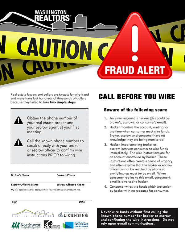 Wire fraud alert disclosure form